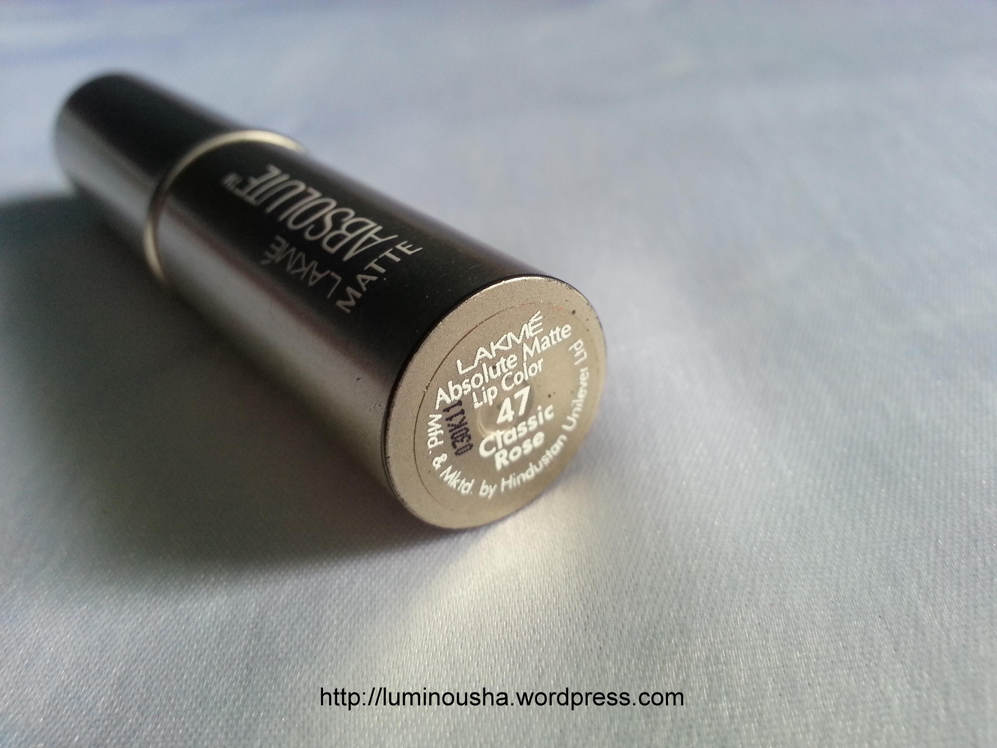 Luminousha Beauty Blog: Lakme Absolute Matte lipstick in ...